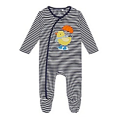 bluezoo - Babies navy striped duck applique sleepsuit