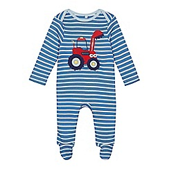 bluezoo - Babies blue striped tractor applique sleepsuit