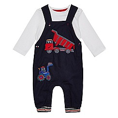 bluezoo - Baby boys' navy digger applique dungarees and bodysuit set
