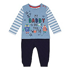 bluezoo - Baby boys' blue 'My Daddy is out of this world' print top and navy jogging bottoms set