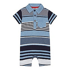 bluezoo - Baby boys' blue striped romper suit