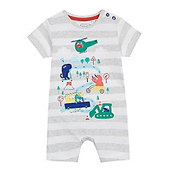 bluezoo - Baby boys' grey striped dinosaur applique romper suit