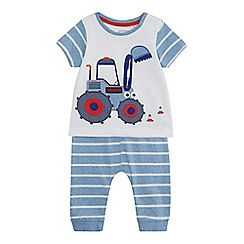 bluezoo - Baby boys' blue tractor applique top and striped jogging bottoms set