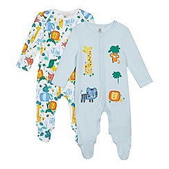 bluezoo - Pack of two baby boys' blue animal print sleepsuits