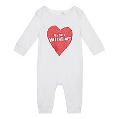 bluezoo - Baby girls' white 'My first Valentines' sleepsuit