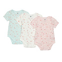 bluezoo - Pack of three baby girls' assorted floral pointelle bodysuits