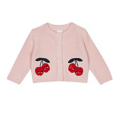 bluezoo - Baby girls' pink cherry applique knitted cardigan