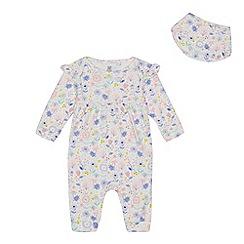 bluezoo - Baby girls' floral print sleepsuit and bib set