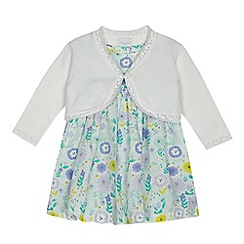 bluezoo - Baby girls' multi-coloured floral print dress and cardigan