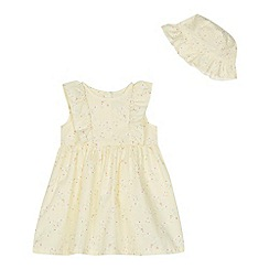 bluezoo - Baby girls' yellow floral print dress and hat set