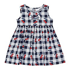 bluezoo - Baby girls' navy gingham cherry print dress