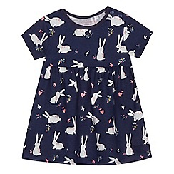 bluezoo - Baby girls' navy bunny print dress