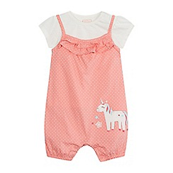 bluezoo - Baby girls' pink spotted unicorn applique romper suit and cream top set