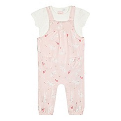 bluezoo - Baby girls' light pink bunny print dungarees and top set