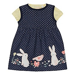 bluezoo - Baby girls' navy bunny applique dress and yellow top set