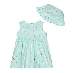 bluezoo - Baby girls' aqua bunny print dress and hat