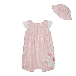 bluezoo - Baby girls' pink gingham print bunny applique romper suit and sun hat set