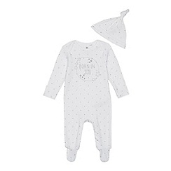 bluezoo - Baby boys' white 'Born in 2018' sleepsuit and hat