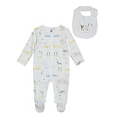 bluezoo - Babies' white organic farm print sleepsuit and bib set