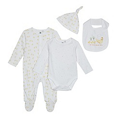 bluezoo - Babies white organic star and chick print sleepsuit, bodysuit, bib and hat set
