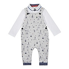 J by Jasper Conran - Baby boys' grey sea print dungarees and polo bodysuit set