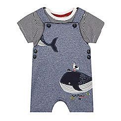 J by Jasper Conran - Baby boys' navy whale applique jersey dungarees and top set