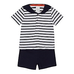 J by Jasper Conran - Baby boys' white striped sailor t-shirt and navy shorts set