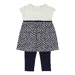 J by Jasper Conran - Baby girls' navy floral print dress and leggings set