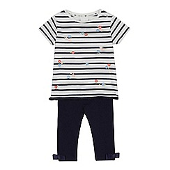 J by Jasper Conran - Baby girls' white striped floral embroidered top and navy leggings set