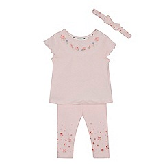 J by Jasper Conran - Baby girls' light pink floral tunic, leggings and headband set