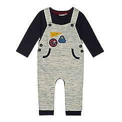 Mantaray - Baby boys' beige badge dungarees and bodysuit set