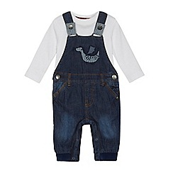 Mantaray - Baby boys' blue dragon applique dungarees and bodysuit set