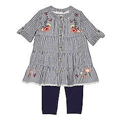 Mantaray - Baby girls' navy striped dress and leggings set