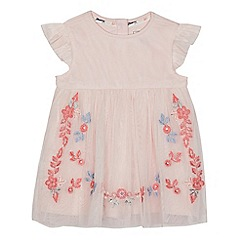 Mantaray - Baby girls' pink floral embroidered dress