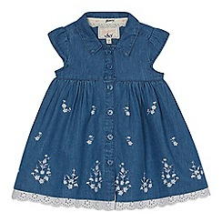 Mantaray - Baby girls' blue chambray floral embroidered dress