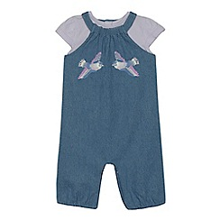 Mantaray - Baby girls' blue denim bird embroidered romper suit and lilac top set