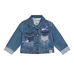 Mantaray - Baby girls' blue denim bird embroidered jacket