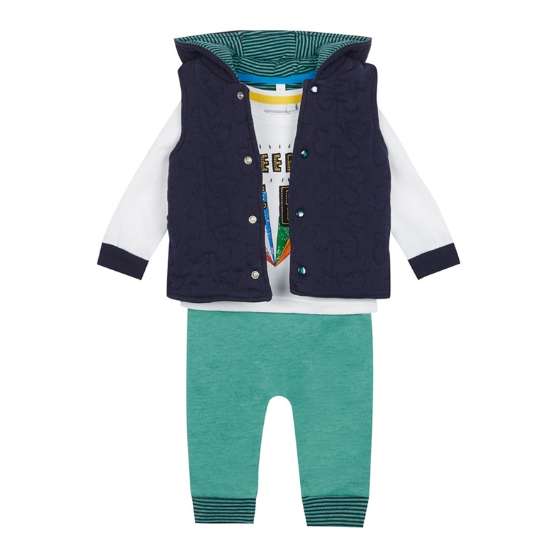 BLUE ZOO | Bluezoo - Babies' Green Truck Gilet, Top And Bottoms Set | Goxip