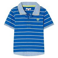 Boy's blue mock collar polo top