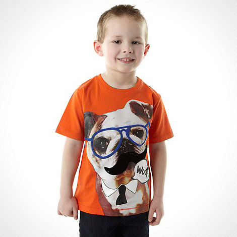 bluezoo - Boy+s orange glasses dog printed top