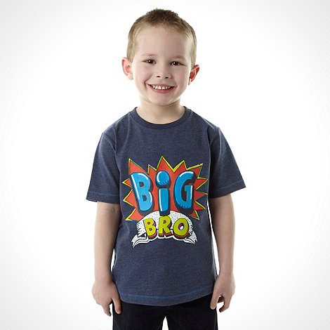 bluezoo - Boy+s blue +Big Bro+ printed top
