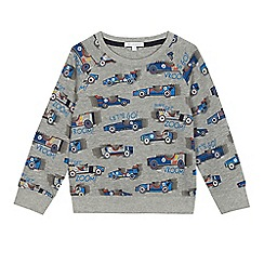 bluezoo - Boys' grey car print sweat