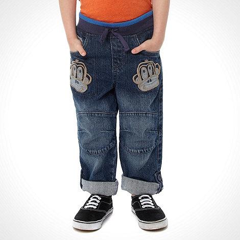 bluezoo - Boy+s blue denim monkey patch jeans