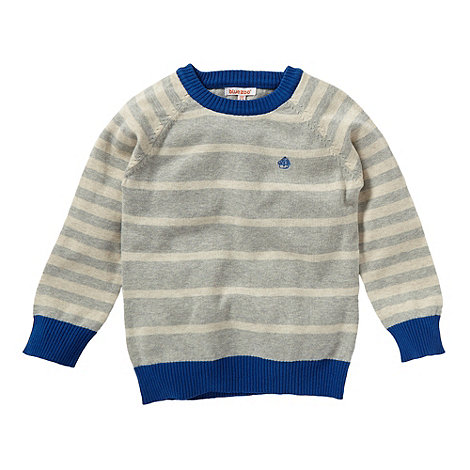 bluezoo - Boy+s grey knitted striped sweater