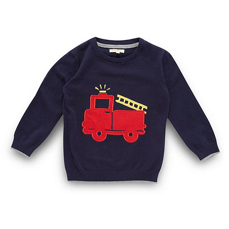 bluezoo - Boy+s navy applique fire engine knit jumper