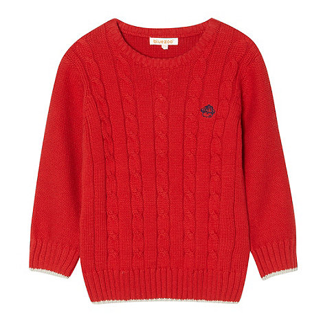 bluezoo - Boy+s red cable knitted jumper