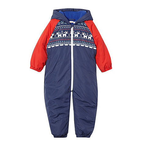 bluezoo - Boy+s blue fairisle padded puddlesuit