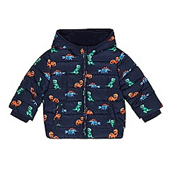 bluezoo - Boys' navy dinosaur print shower resistant padded jacket