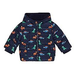 bluezoo - Boys' navy dinosaur print shower resistant padded jacket