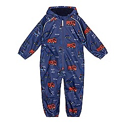 bluezoo - Boys' blue vehicle print puddlesuit